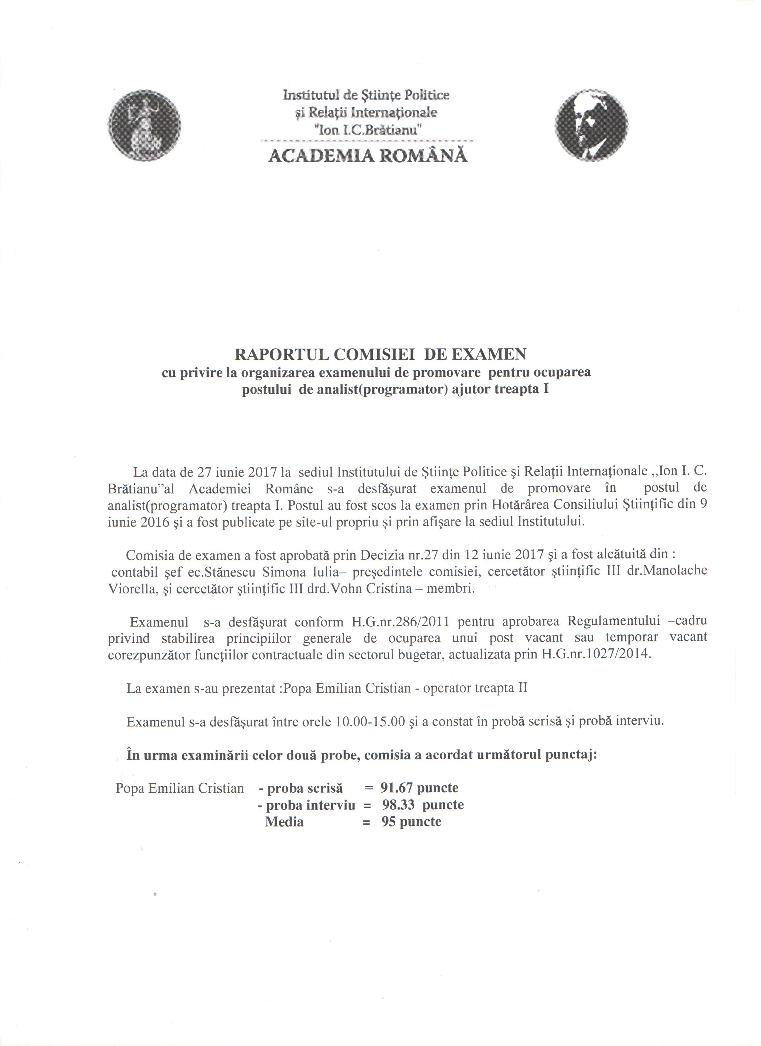 Rez.ex. de promovare pt. posturile analist progr.ajut.tr I
