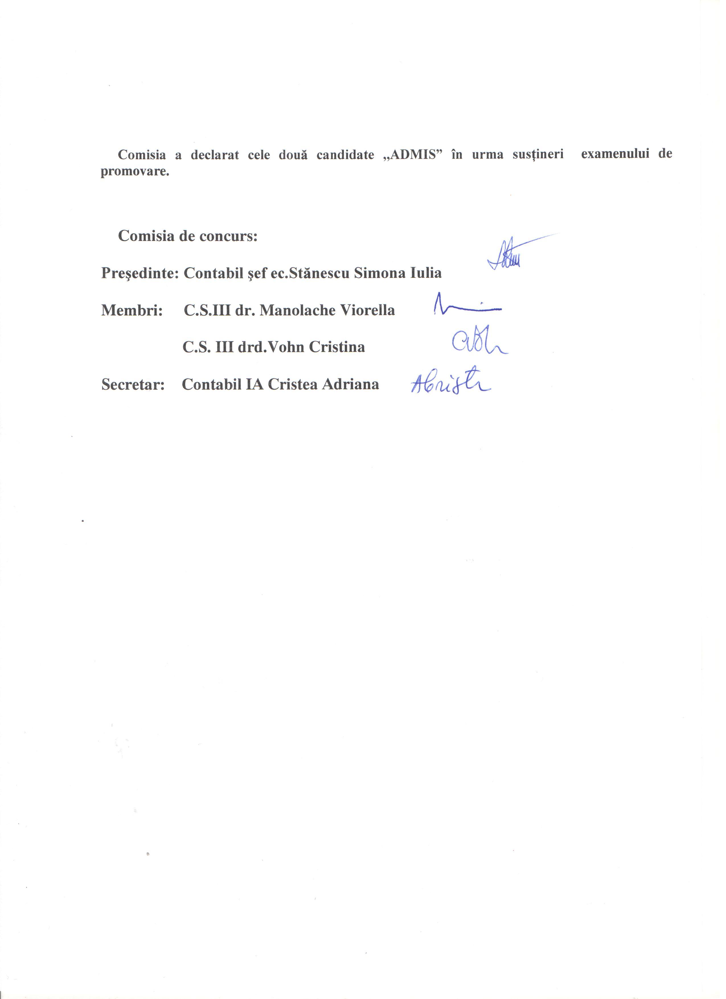 Rez.ex. de promovare pt. posturile analist progr.ajut.tr IA 001